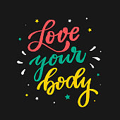 creative lettering quote 'Love your body'