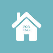home for sale icon on blue background white house icon stock vector illustration