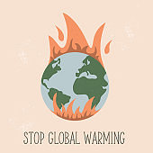 Eco poster with globe in flame. Global warming concept. Vector concept design