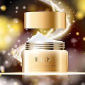 Hydrating facial cream for annual sale or festival sale. silver and gold cream mask bottle isolated on glitter particles background. Graceful cosmetic ads, illustration.