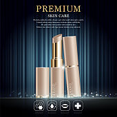 Hydrating facial lipstick for annual sale or festival sale. brown and gold lipstick mask bottle isolated on glitter particles background. Graceful cosmetic ads, illustration EPS10.