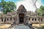Temple Preah Khan. Headless guardians. Angkor - UNESCO World Heritage site. Cambodia, Siem Reap