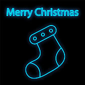 Lovely Merry Xmas concept linear neon design with Christmas sock. Greeting typography compositions Xmas cards, banners or posters and other printables