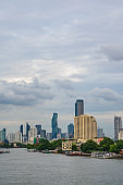 Bangkok Cityscape with beautiful sunset and chaophraya river.Bangkok is the capital and most populous city of Thailand