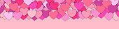 Valentine s day background with many red and pink hearts. Happy Valentine s Day. Symbol of love. Confetti hearts petals falling. Background of colorful hearts and place for your text. Love concept