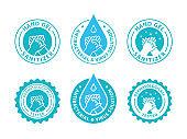 Hand gel sanitizer logo. Vector illustration.