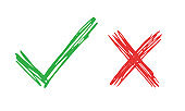 Do and Don't simple icons, freehand brush strokes. Vector elements. Green check mark and red cross, used to indicate rules of conduct or response versions.