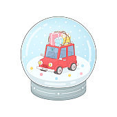 Snowball with red retro car and Christmas gifts on it roof. Cute holiday postcard. 3d isometric vector illustration for web banner