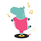 Cheerful illustration of a hippo dancing on a vinyl record.