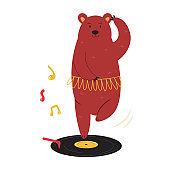 Cheerful illustration of a ballerina bear dancing on a vinyl record.
