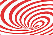Vector abstract illustration of swirl vortex with stripes. Trendy 3d background in op art style, optical illusion.