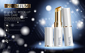 Hydrating facial lipstick for annual sale or festival sale. white and gold lipstick mask bottle isolated on glitter particles background for product presentation. Graceful cosmetic ads, Vector illustration.