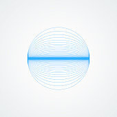 Vector shiny sphere.circle with blue lines in blue on a white background