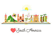 Tourist poster with famous symbols, animals, landmarks, buildings of South America. Explore South America concept image. For banner, travel guides