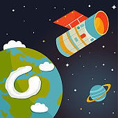 Satellite flying near Earth in outer space. Astronomical vector illustration