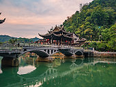 Fenghuang old town bridge with Scenery view of fenghuang old town .