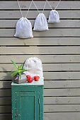 Reusable zero waste linen mesh produce bags hanging