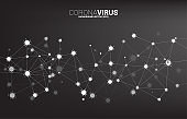 Close up particle wuhan and Corana virus outbreak background.