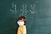 Cute child writing mathematics at blackboard. Back to school