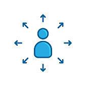 people arrow blue flat icon
