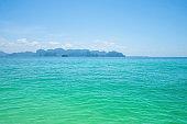Beautiful idyllic seascape and Horizon of andaman ocean  krabi city Thailand.