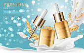 Hydrating facial serum for annual sale or festival sale. silver and gold serum mask bottle isolated on glitter particles background. Graceful cosmetic ads, illustration EPS10.