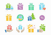 Gift box icon set. Collection of present, christmas, new year, discount and more. Vector illustration.