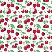 Cherries hand drawn seamless background.