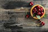 Sweet cherry scattered on textured background with text space.