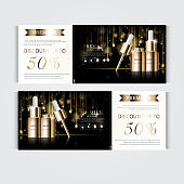 Gift voucher hydrating facial serum for annual sale or festival sale. silver and gold serum mask bottle isolated on glitter particles background. Banner graceful cosmetic ads.