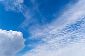 Bright pop blue sky with white clouds