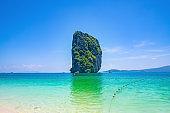 Beautiful idyllic seascape and white sand on koh poda island krabi city Thailand