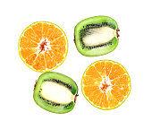 sliced Kiwi and citrus Orange on a white background