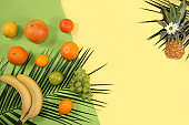 Tropical fruits, grapefruit, orange, lemon, banner. Detox diet minimal concept. Space for text, flat lay. Healthy and natural food concept. Vitamins C,