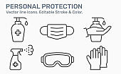Personal protection line icons set. Black vector illustration. Editable stroke.
