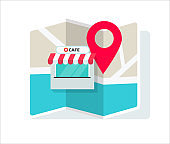Cafe shop or store location with pin pointer and navigation map vector illustration flat cartoon, idea of restaurant position or place geo location sign isolated image