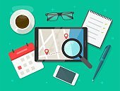 Searching road map location destination route vector flat illustration, reviewing trip travel direction on city navigation digital tablet computer, exploring roadmap, find street place on workplace
