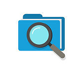 Scan or inspection of file folder documents vector icon concept, audit review investigation of archive, analyzing check of law legal documentation, find or search symbol modern design