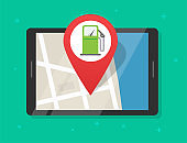Online gas petrol fuel station map with navigation application on digital tablet computer, position pointer on roadmap refuel pump gps location marker route plan vector isolated