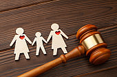 Adoption of a child by a same-sex couple. Judge gavel and the figures of two lesbian girl child hold hands