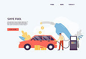 Fuel save website with man refueling at gas station, flat vector illustration.