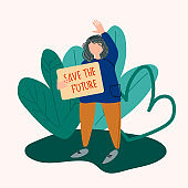 School Strike for the Climate concept. Girl holding Save the Future placard vector illustration