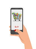 Online grocery shopping concept, order food.