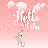 Hello Baby phrase with cute little mouse cartoon character vector illustration.