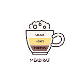 Mead raf coffee recipe - flat cup icon with espresso, honey and cream