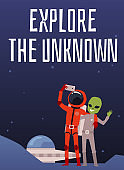 Astronaut and alien make selfie photo on smartphone on background of cosmos.