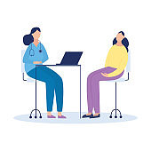 Woman at physicians office or hospital flat vector illustration isolated.