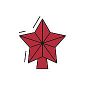 Christmas star decoration icon on white background.