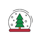Christmas snow ball icon on white background.