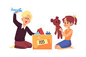 Children packing old toys into box, flat cartoon vector illustration isolated.